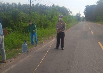 Polisi menggelar olah TKP kasus kecelakaan di Kabupaten Batanghari beberapa waktu lalu. (Dokumen)